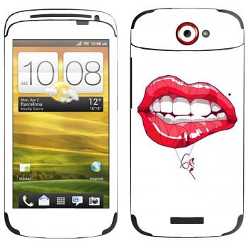 Виниловая наклейка «Губная помада» на телефон HTC One S
