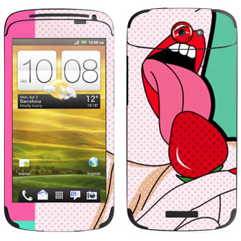 Виниловая наклейка «Сладкая клубника» на телефон HTC One S