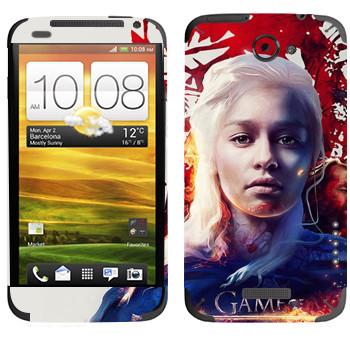 Виниловая наклейка «Дейнерис - Game of Thrones Fire and Blood» на телефон HTC One X