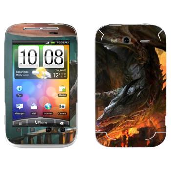 Виниловая наклейка «Drakensang fire» на телефон HTC Wildfire S