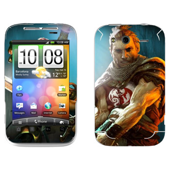 Виниловая наклейка «Drakensang warrior» на телефон HTC Wildfire S