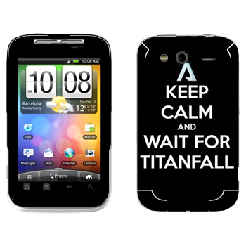 Виниловая наклейка «Keep Calm and Wait For Titanfall» на телефон HTC Wildfire S