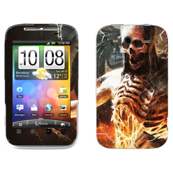 Виниловая наклейка «Mortal Kombat Скелет» на телефон HTC Wildfire S