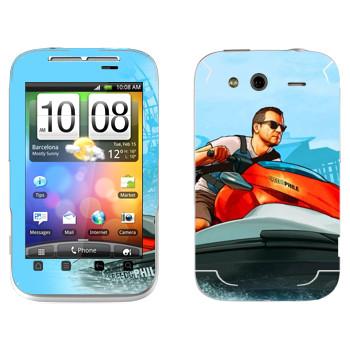 Виниловая наклейка «Мужик на водном мотоцикле - GTA 5» на телефон HTC Wildfire S