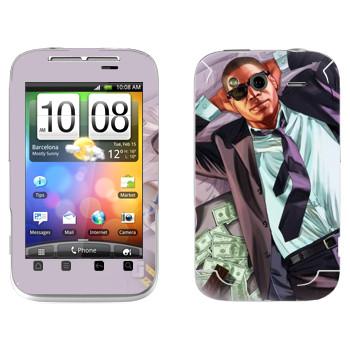 Виниловая наклейка «Мужик с деньгами - GTA 5» на телефон HTC Wildfire S