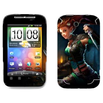 Виниловая наклейка «Neverwinter Зеленый Эльф» на телефон HTC Wildfire S