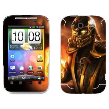 Виниловая наклейка «Скорпион Mortal Kombat» на телефон HTC Wildfire S