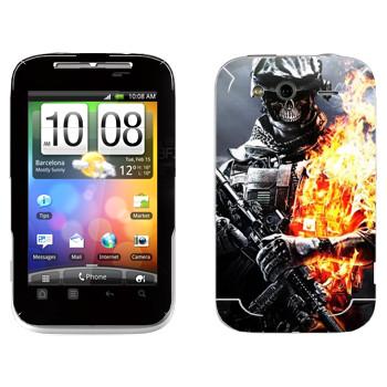 Виниловая наклейка «Солдат в огне» на телефон HTC Wildfire S