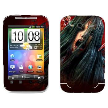 Виниловая наклейка «The Evil Within - Девушка-зомби» на телефон HTC Wildfire S