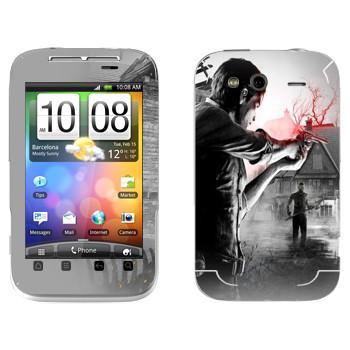 Виниловая наклейка «The Evil Within - Стрельба» на телефон HTC Wildfire S