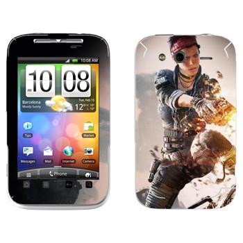 Виниловая наклейка «Titanfall женщина-воин» на телефон HTC Wildfire S