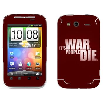 Виниловая наклейка «Wolfenstein - Это война. Люди погибают» на телефон HTC Wildfire S