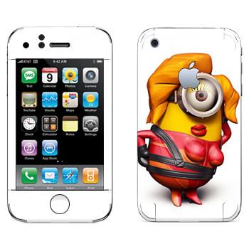 Виниловая наклейка «Миньон красотка» на телефон Apple iPhone 3G