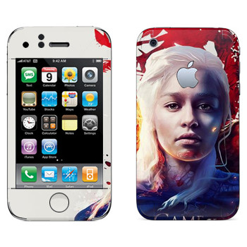 Виниловая наклейка «Дейнерис - Game of Thrones Fire and Blood» на телефон Apple iPhone 3GS