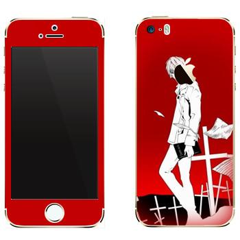 Виниловая наклейка «Death Note белый мужик» на телефон Apple iPhone 5