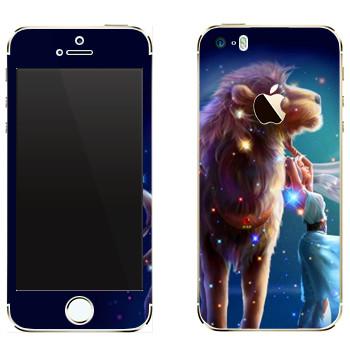 Виниловая наклейка «Знак зодиака Лев» на телефон Apple iPhone 5