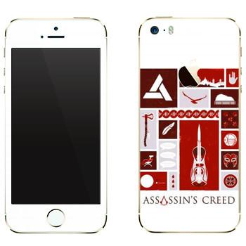Виниловая наклейка «Assassins creed иконки» на телефон Apple iPhone 5
