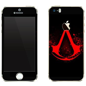 Виниловая наклейка «Assassins creed кровавое лого» на телефон Apple iPhone 5