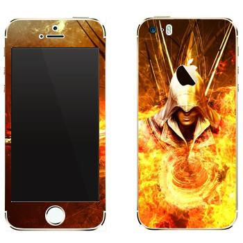 Виниловая наклейка «Assassins creed огонь» на телефон Apple iPhone 5
