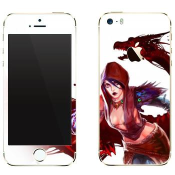 Виниловая наклейка «Dragon Age - Девушка с драконом» на телефон Apple iPhone 5