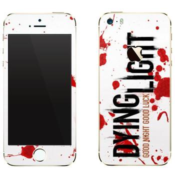 Виниловая наклейка «Dying Light  - кровь» на телефон Apple iPhone 5