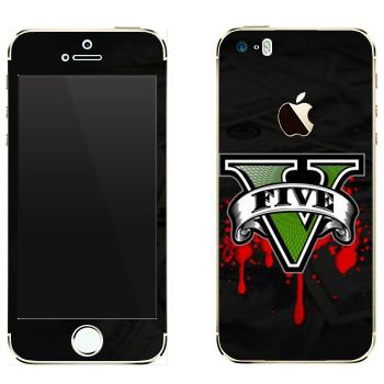 Виниловая наклейка «GTA 5 - logo blood» на телефон Apple iPhone 5