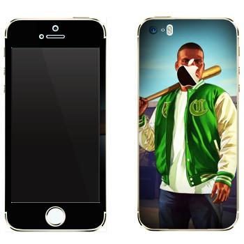 Виниловая наклейка «Парень с битой - GTA 5» на телефон Apple iPhone 5