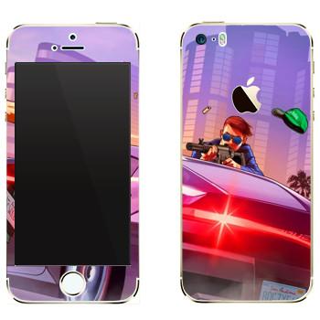 Виниловая наклейка «Перестрелка - GTA 5» на телефон Apple iPhone 5