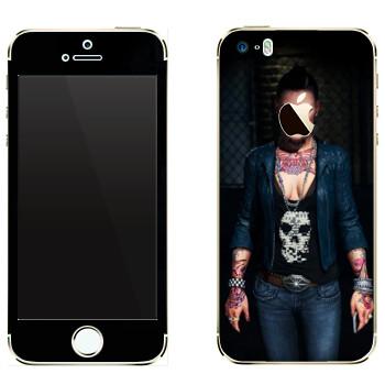 Виниловая наклейка «Татуированная девушка - Watch Dogs» на телефон Apple iPhone 5