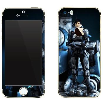 Виниловая наклейка «Titanfall девушка и робот» на телефон Apple iPhone 5