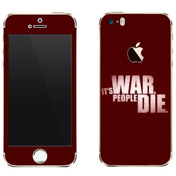 Виниловая наклейка «Wolfenstein - Это война. Люди погибают» на телефон Apple iPhone 5