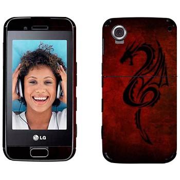 Виниловая наклейка «Дракон хной на красном фоне» на телефон LG GT400 Viewty Smile