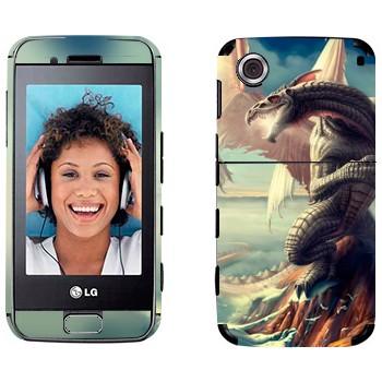 Виниловая наклейка «Дракон на скале в море» на телефон LG GT400 Viewty Smile