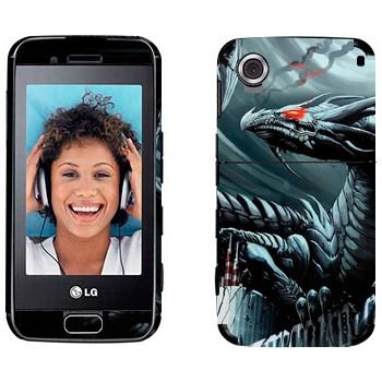 Виниловая наклейка «Дракон на здании» на телефон LG GT400 Viewty Smile