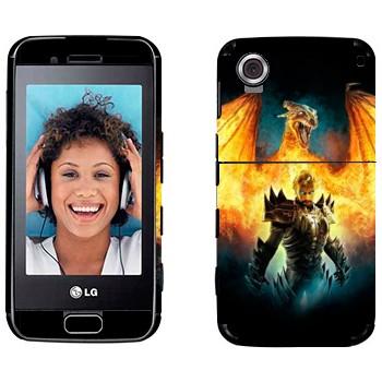 Виниловая наклейка «Дракон в пламени и человек» на телефон LG GT400 Viewty Smile