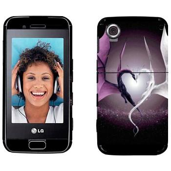 Виниловая наклейка «Два дракона в виде сердца» на телефон LG GT400 Viewty Smile