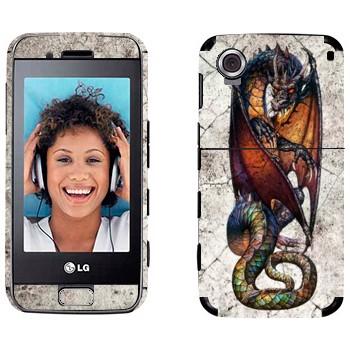 Виниловая наклейка «Сидящий дракон» на телефон LG GT400 Viewty Smile