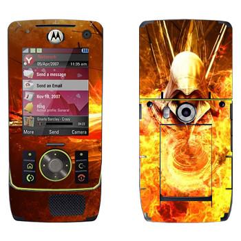 Виниловая наклейка «Assassins creed огонь» на телефон Motorola Z8 Rizr