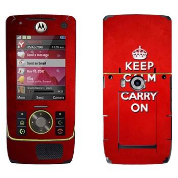Виниловая наклейка «Keep calm and carry on - Надпись» на телефон Motorola Z8 Rizr