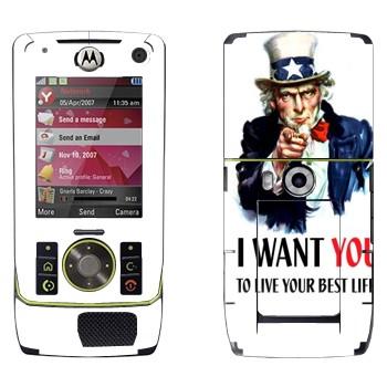 Виниловая наклейка «Дядя Сэм: I want you!» на телефон Motorola Z8 Rizr
