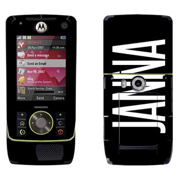 Виниловая наклейка «Janna» на телефон Motorola Z8 Rizr