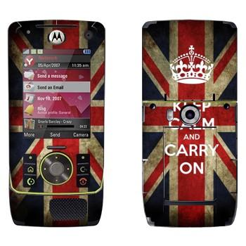Виниловая наклейка «Keep calm and carry on» на телефон Motorola Z8 Rizr