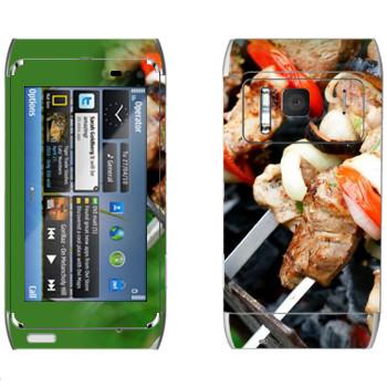Виниловая наклейка «Шашлык на мангале» на телефон Nokia N8