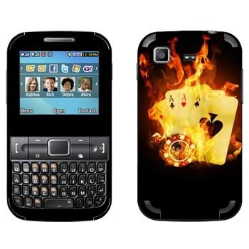 Виниловая наклейка «Четыре туза в огне» на телефон Samsung C3222 Duos