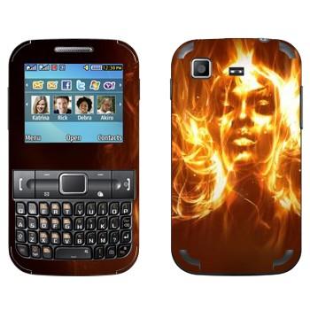 Виниловая наклейка «Девушка из огня» на телефон Samsung C3222 Duos
