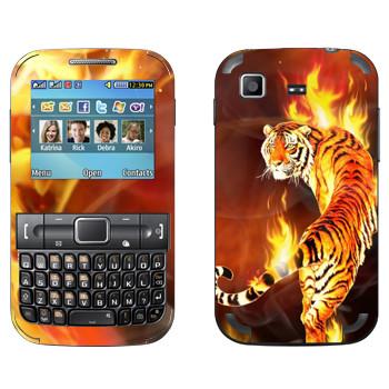 Виниловая наклейка «Горящий тигр» на телефон Samsung C3222 Duos
