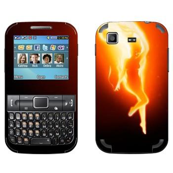 Виниловая наклейка «Огненная девушка» на телефон Samsung C3222 Duos