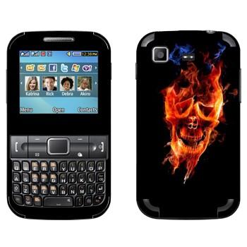 Виниловая наклейка «Огненный череп» на телефон Samsung C3222 Duos
