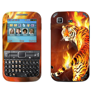 Виниловая наклейка «Огненный тигр» на телефон Samsung C3222 Duos