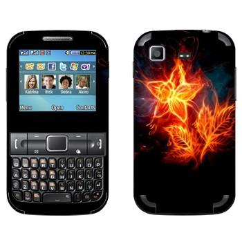 Виниловая наклейка «Огненный цветок с листьями» на телефон Samsung C3222 Duos